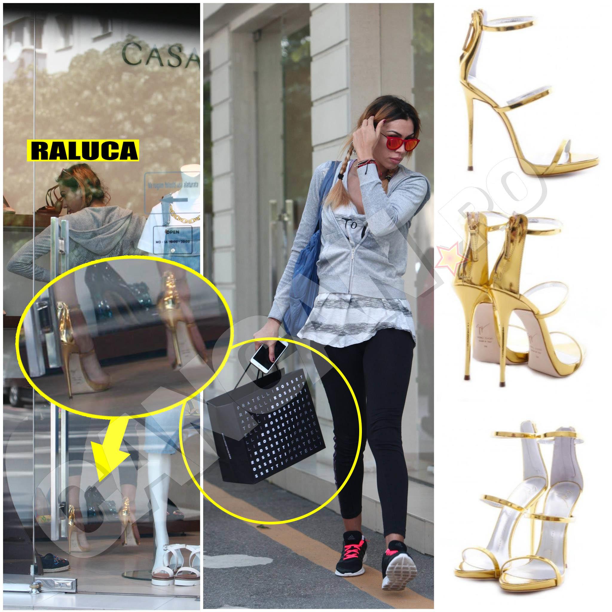 Pantofii originali Giuseppe Zanotti pot fi găsiţi în magazinul online Distinto, costă 2700 lei şi sunt făcuţi în Italia, din piele lăcuită, cu toc de 10 centimetri, nefiind de mirare că Raluca Pastramă nu s-a putut abţine de la a-şi satisface această poftă.