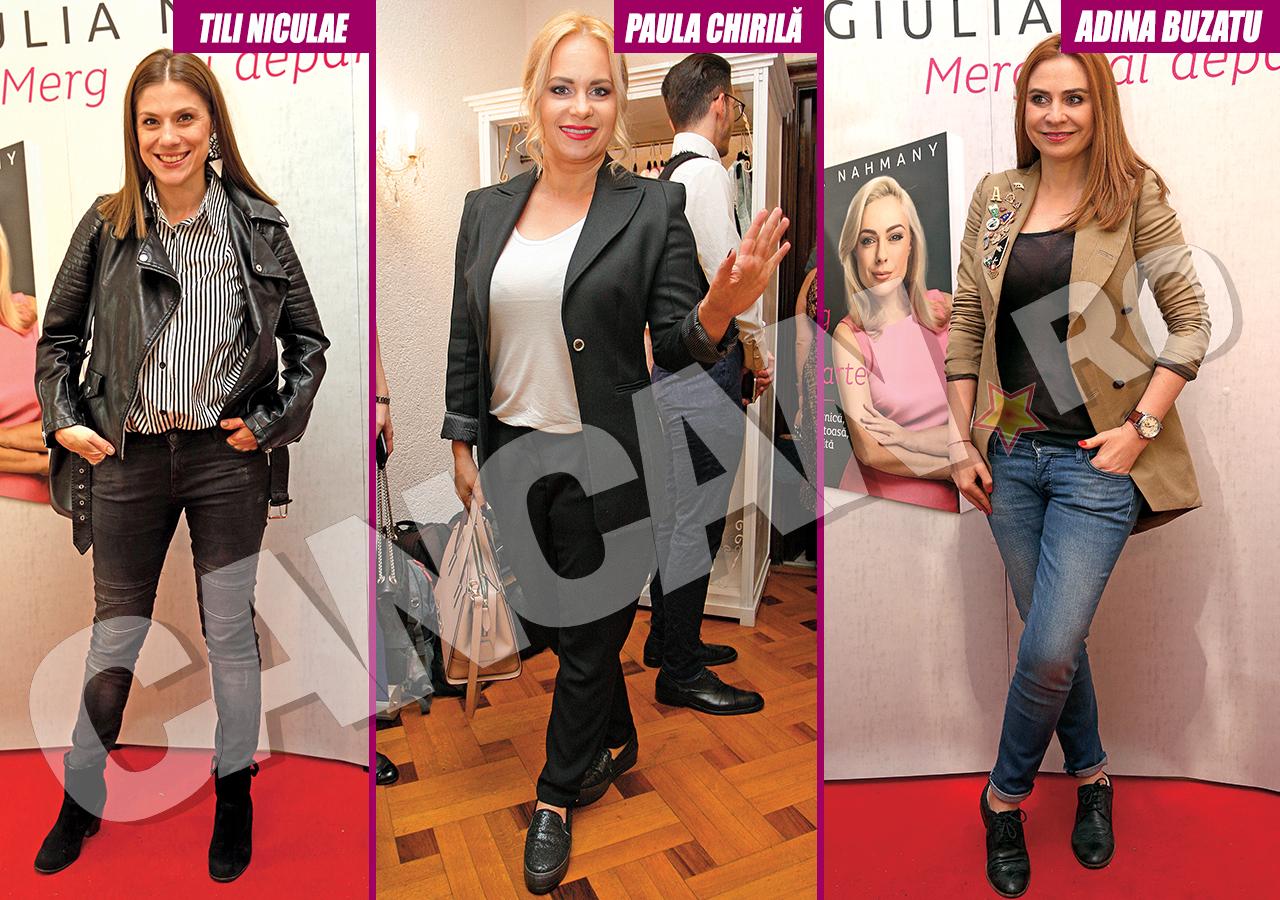 Tili Niculae, Paula Chirilă şi Adina Buzatu s-au prezentat la un eveniment în pantaloni.