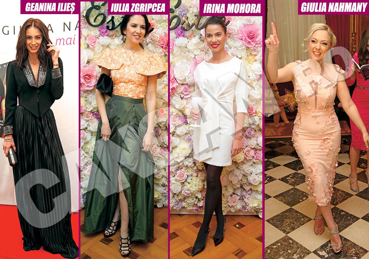 Geanina Ilieş, Iulia Zgripcea, Irina Mohora şi Giulia Nahmany s-au făcut remarcate la evenimentele mondene prin rochiile pe care le-au purtat.