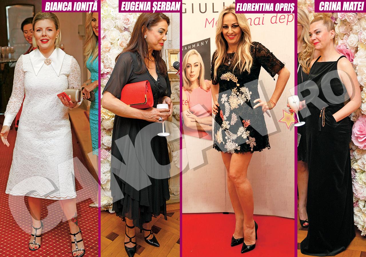 Bianca Ioniţă, Eugenia Şerban, Florentina Opriş şi Crina Matei s-au făcut remarcate la evenimentele mondene prin rochiile pe care le-au purtat.
