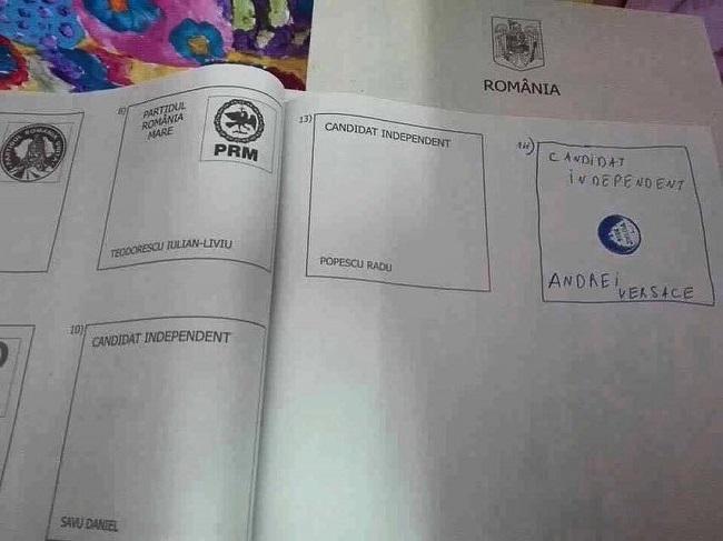 Andrei Versace şi-a pozat buletinul de vot.