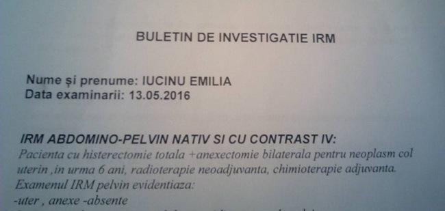 Emilia a scanat buletinul de investigaţie la IRM.