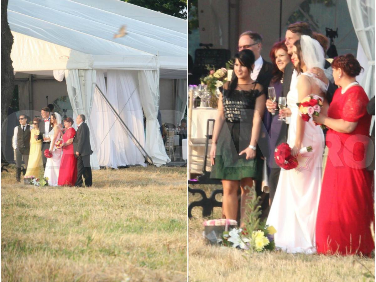 Petrecerea de nuntă a Mădălinei Puşcălău şi a lui Emil Dobrovolschi s-a ţinut într-un cort amplasat între doi stejari seculari