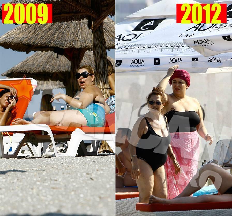 Aşa arăta Oana Roman în costum de baie în 2009 şi în 2012.