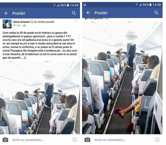 Stewardesa a pozat-o pe blondă şi a comentat la adresa ei. În imagine se vede că Lore are papuci mov, iar acest lucru i-a displăcut angajatei TAROM