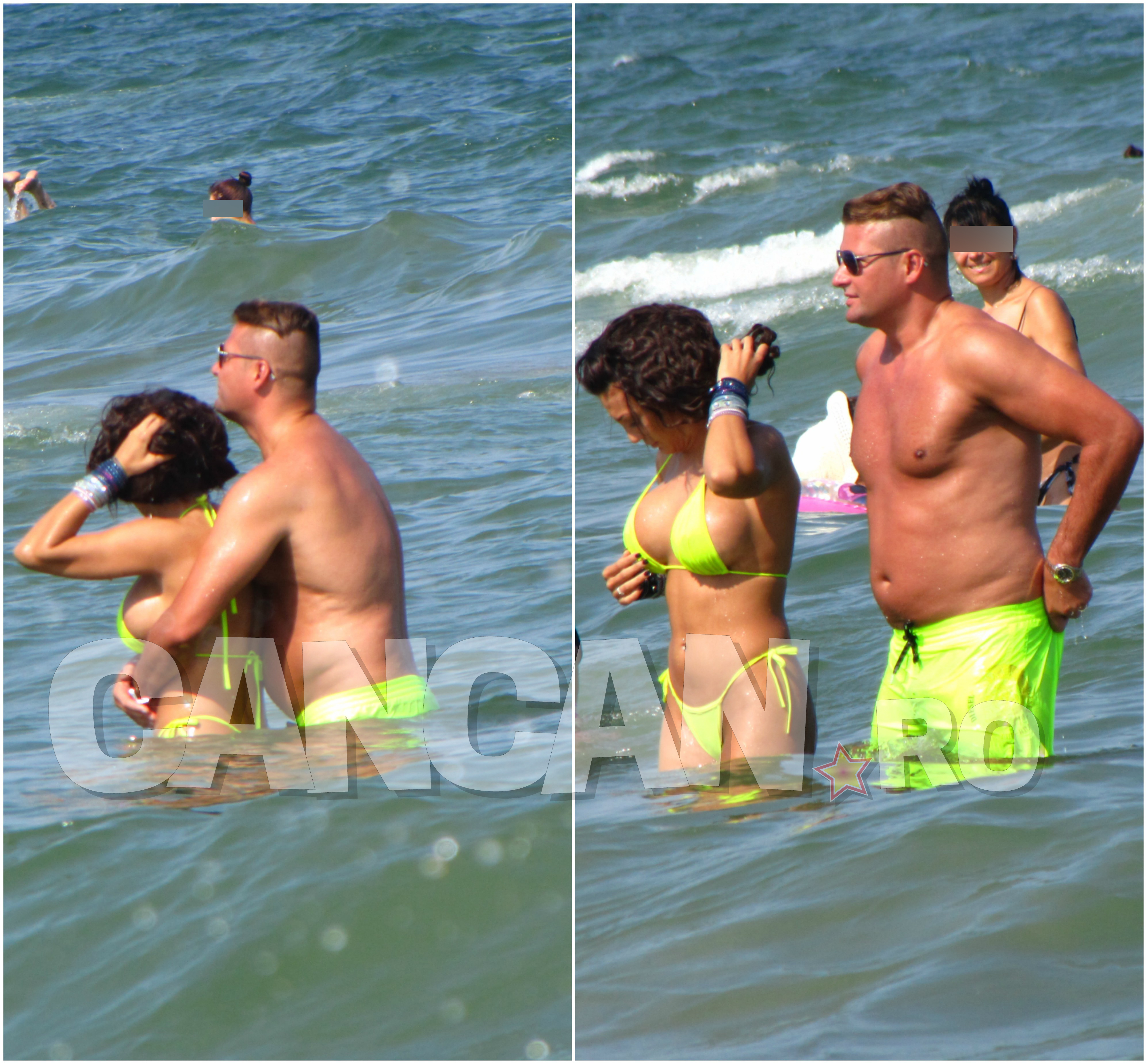 Deşi erau în apă, noul iubit al Larisei Bercea s-a încins în preajma acesteia, neputând să se abţină de la pipăială.