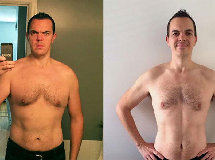 Bărbatul a urmat o lună de zile acelaşi antrenament şi dietă precum Dwayne Johnson, iar în imagine se poate vedea cum arăta înainte (foto stânga), dar şi după (foto dreapta)