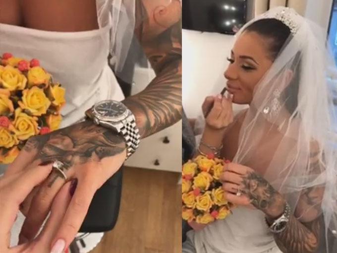 Roxana Vancea s-a filmat în rochie de mireasă.