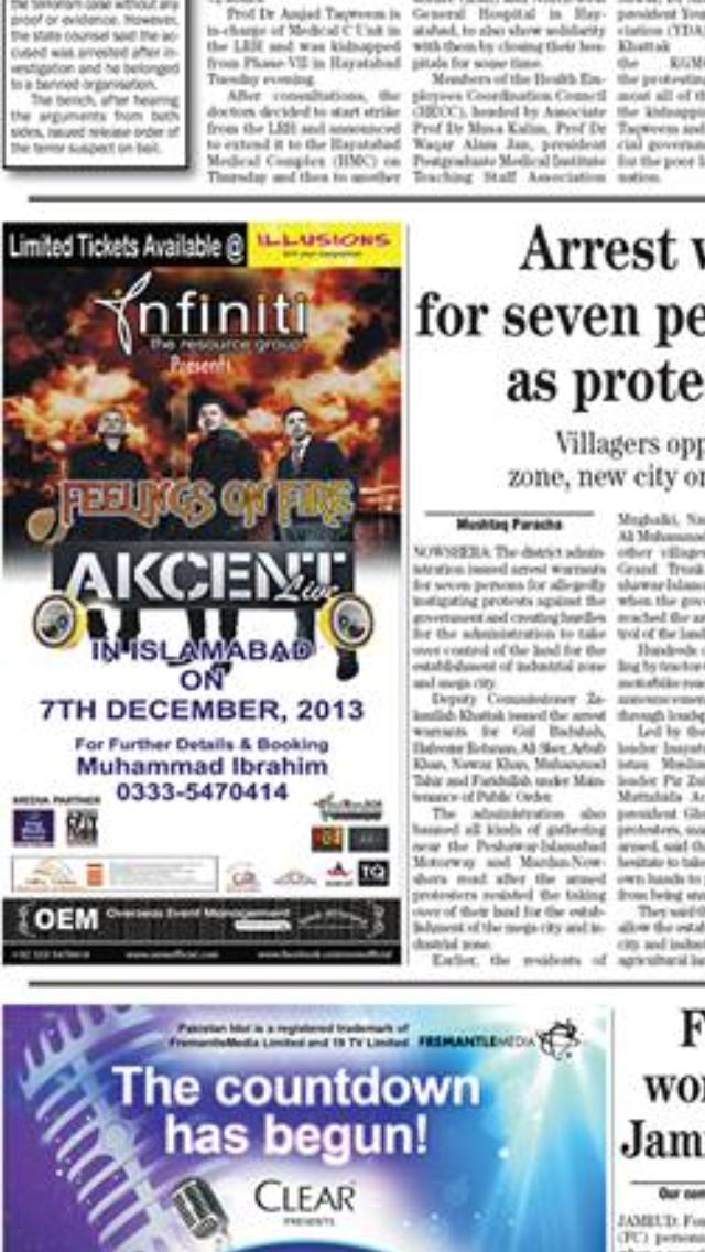 Si in ziare, a aparut acelasi afis al concertului sustinut de Adi Sina in Islamabad