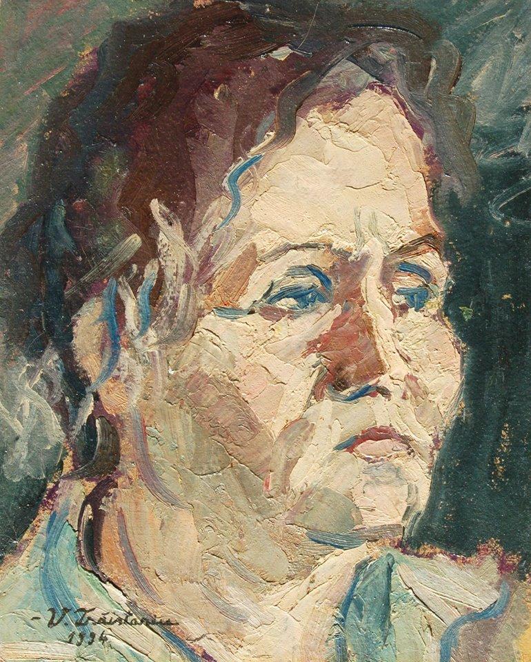 Acesta este unul dintre tablourile pictate de Vasile si care o infatiseaza pe mama lui si a lui Mihai, Natalia Traistariu sursa: arhiva personala