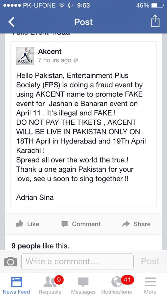 Acesta este mesajul postat de Adi Sina impotriva fostilor colegi
