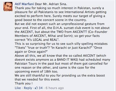 Raspunsul primit de Adi Sina de la organizatorul de evenimente din Pakistan