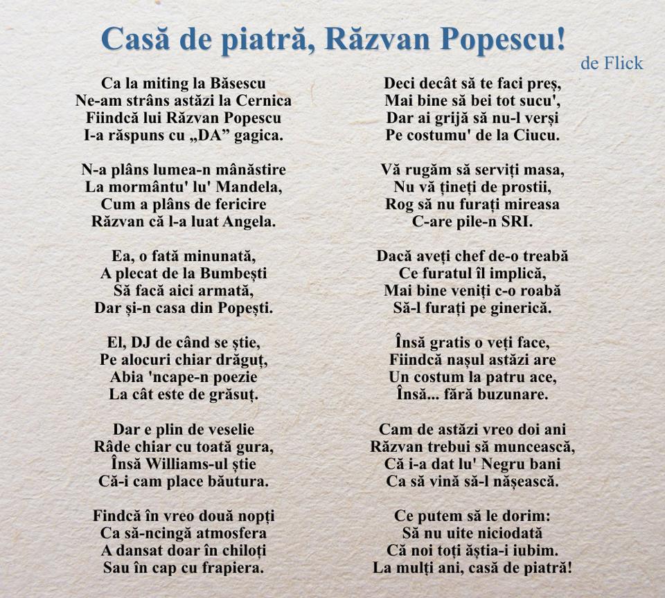 Aceasta este poezia pe care Flick i-a dedicat-o lui Razvan Popescu