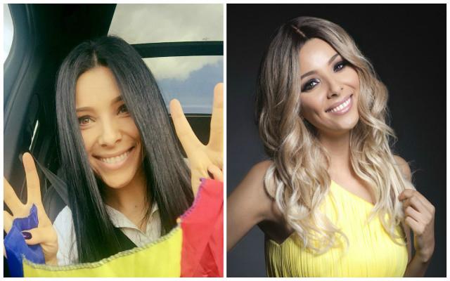 Corina Coragea a vrut să vadă cum îi stă blondă, doar cu o...perucă. Care culoarea credeţi că o prinde mai bine, brunetă (foto stânga) sau blondă (foto dreapta)?