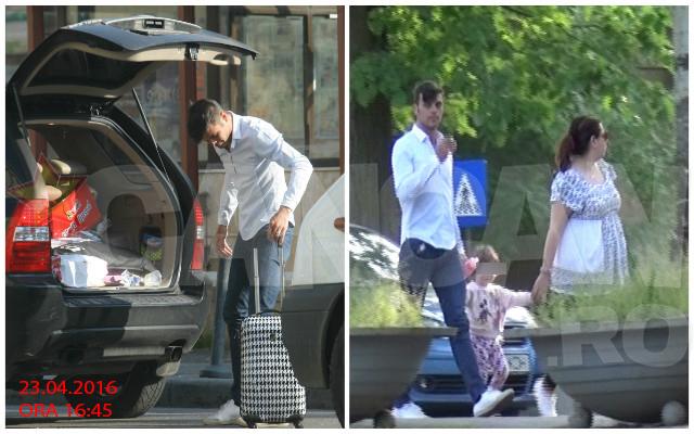 Oana Roman şi soţul ei au ieşit la plimbare cu fetiţa lor, în parc.