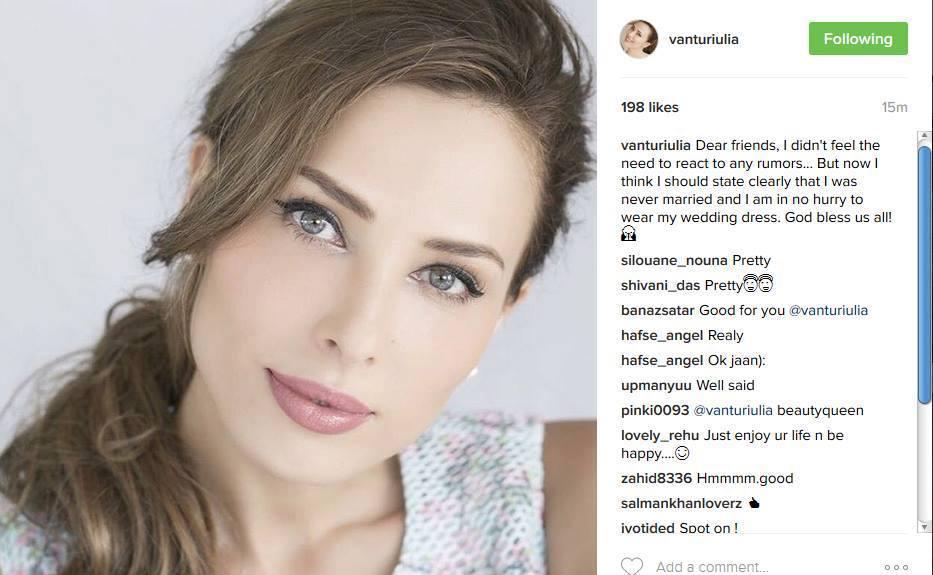 Iulia Vântur a reacţionat la zvonurile apărute în legătură posibila căsătorie cu celebrul actor.