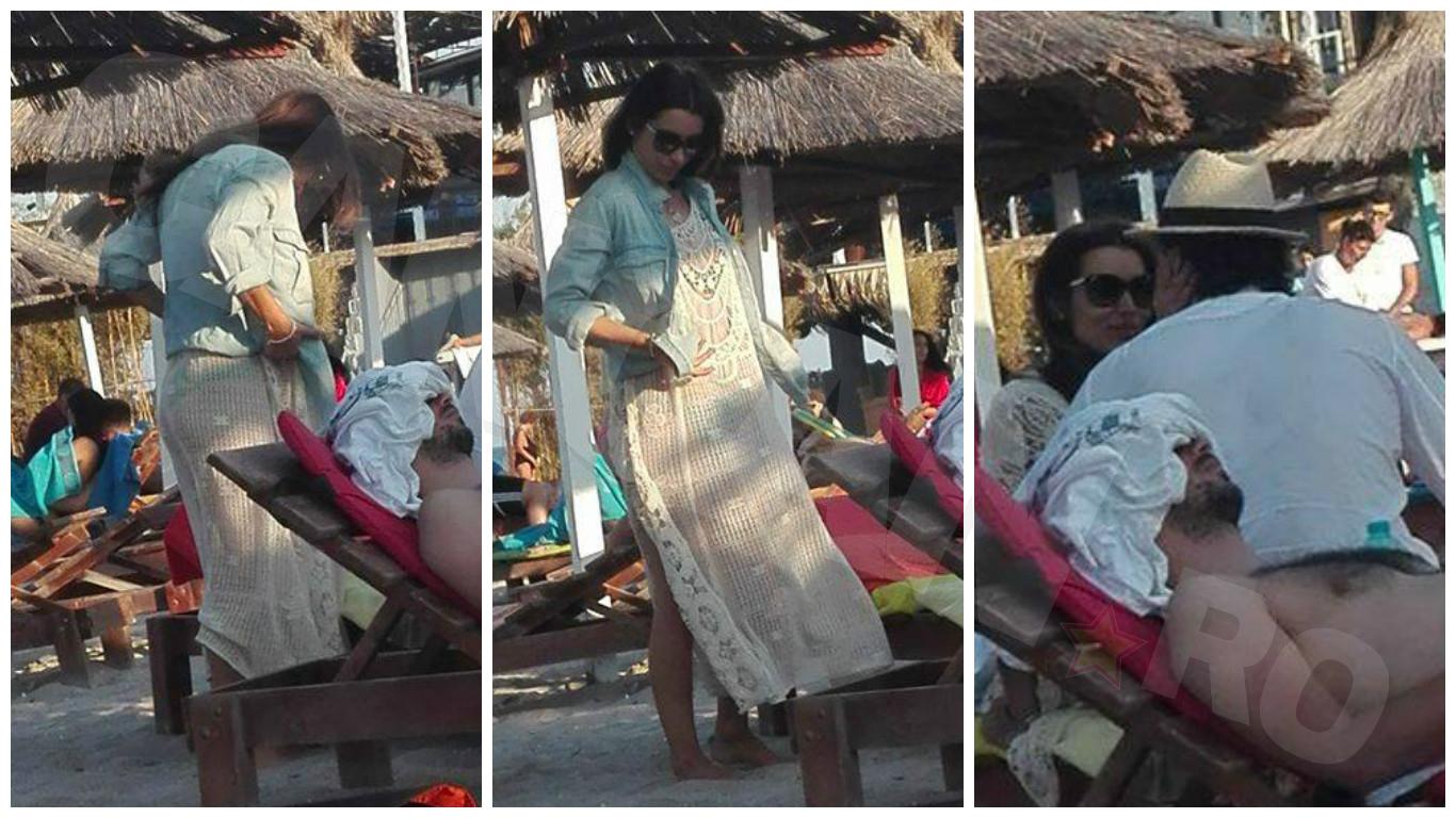 Lili Sandu, acoperită până-n gât la plajă.