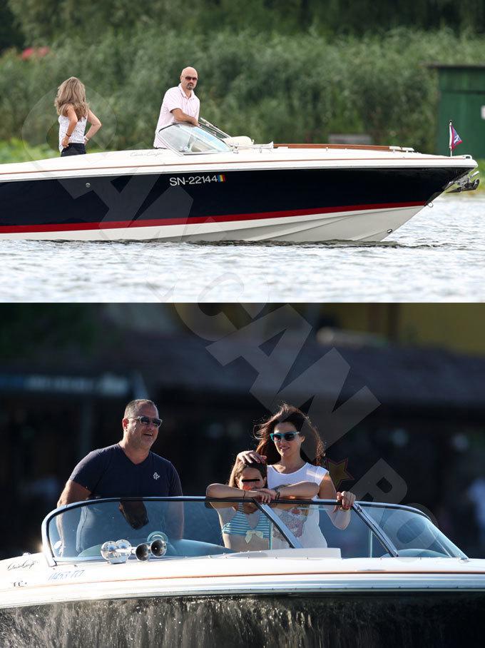 Oana Cuzino şi soţul ei, Yoav Stern, s-au intersectat pe lacul Snagov cu şalupa lui Don Nic, şi el cu soţia.