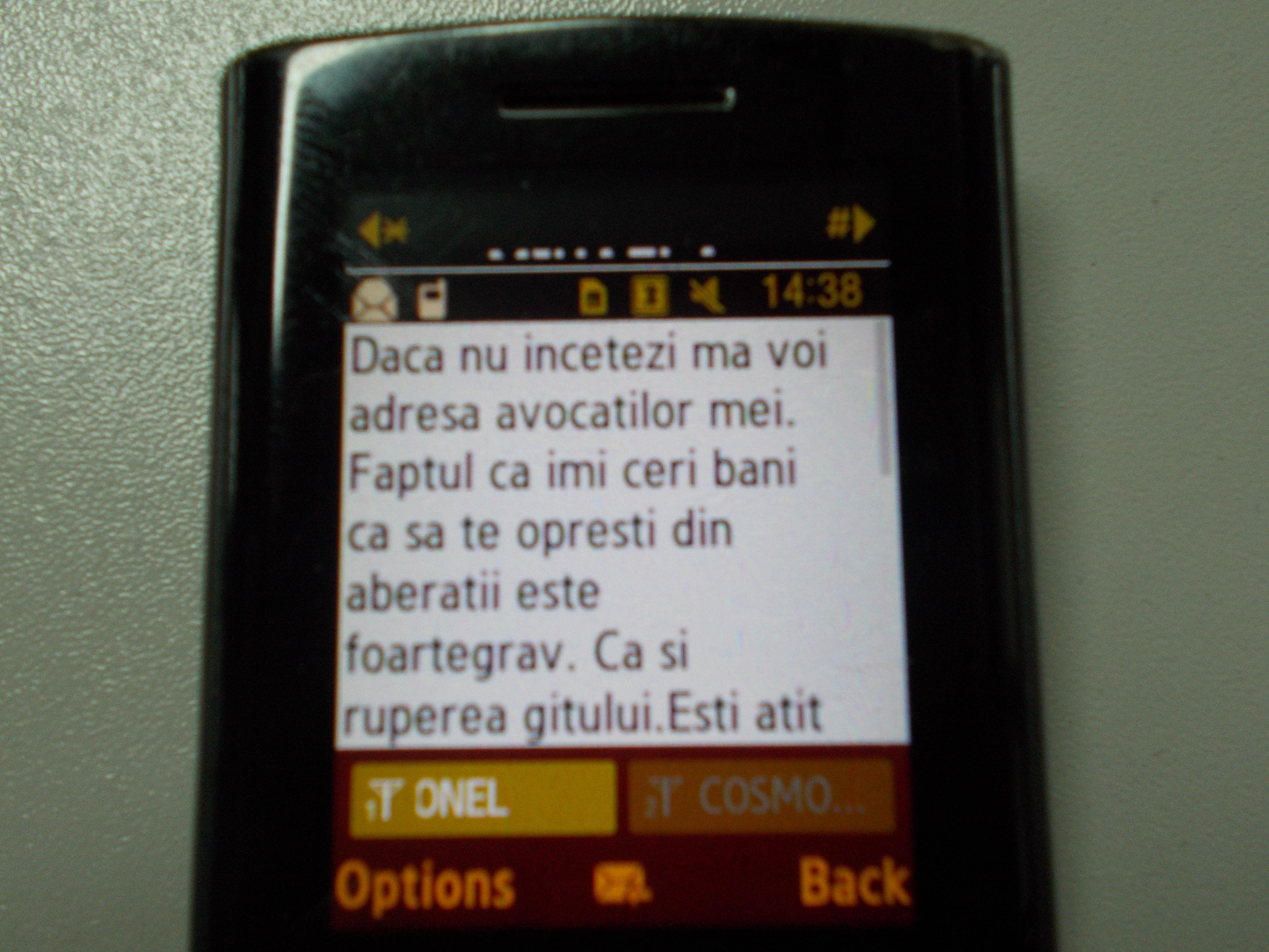 Mihaela Constantinescu i-a trimis lui marculescu un mesaj in care il acuza de santaj