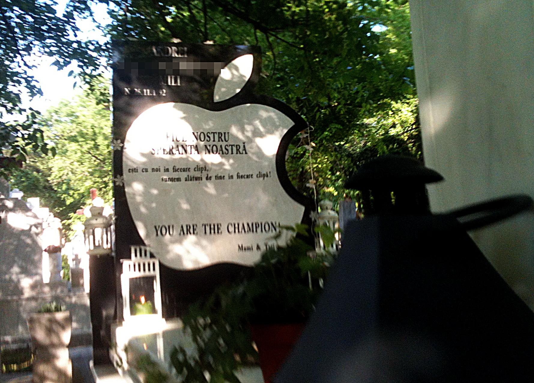 Tanarul de nici 21 de ani are un monument funerar in forma marului de la Apple