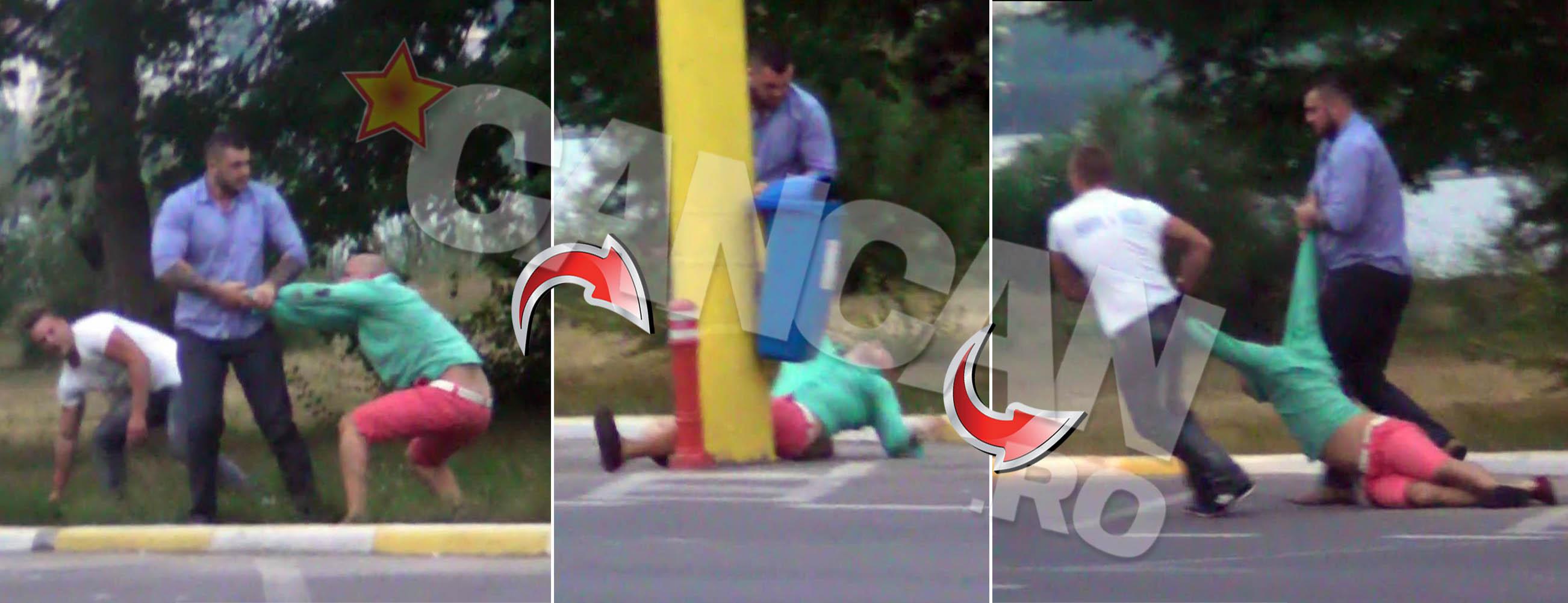 Unul dintre clienti si-a pierdut cunostinta dupa ce a fost lovit cu pumnii si picioarele de agentii de paza