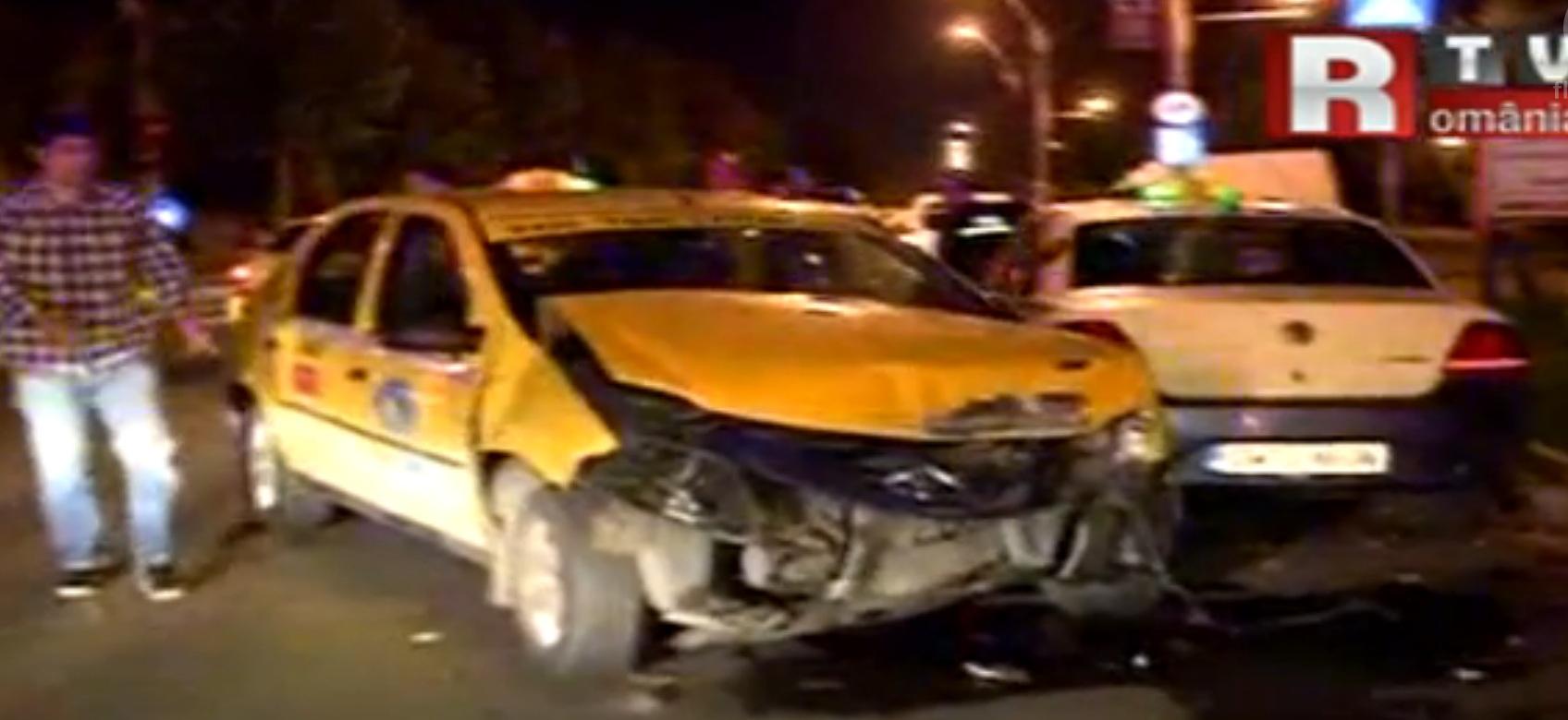 Pasagerul taxiului implicat in accident a ajuns la spital