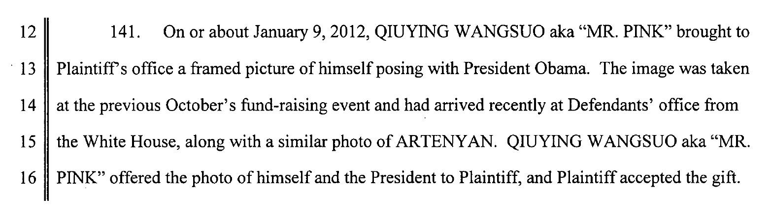 Facsimil din documentul depus de Gary in instanta, in care vorbeste despre relatia lui Mr Pink cu Obama