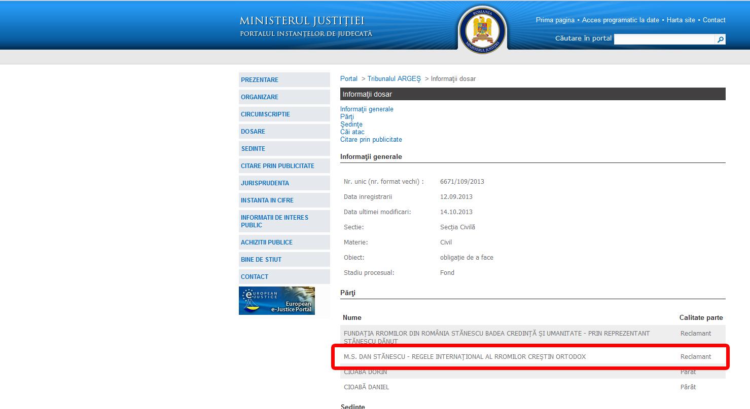 Asa figureaza Stanescu pe site-ul Tribunalului Arges
