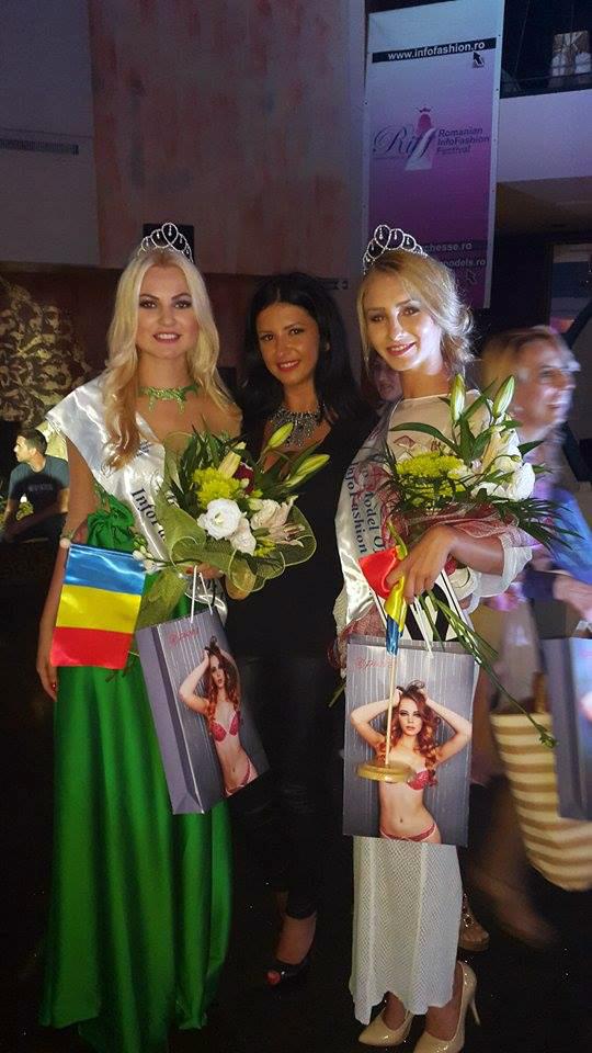 Oana alaturi de doua dintre fetele machiate de ea: Miss Intercontinental Romania – Emanuela Tancau si Cristina Toderici - Miss Globe Romania