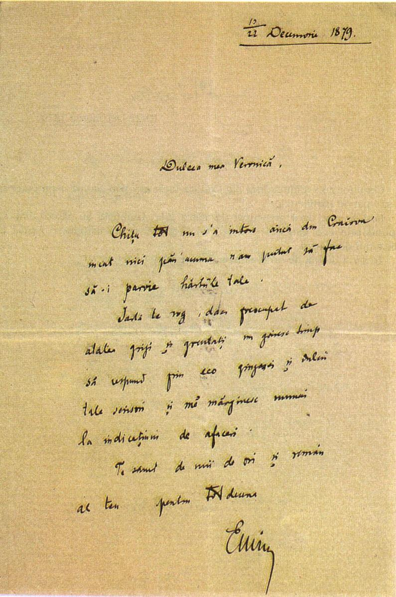 Scrisorile dintre poet si tanara doamna Micle au ramas dovada a iubirii uriase dintre ei