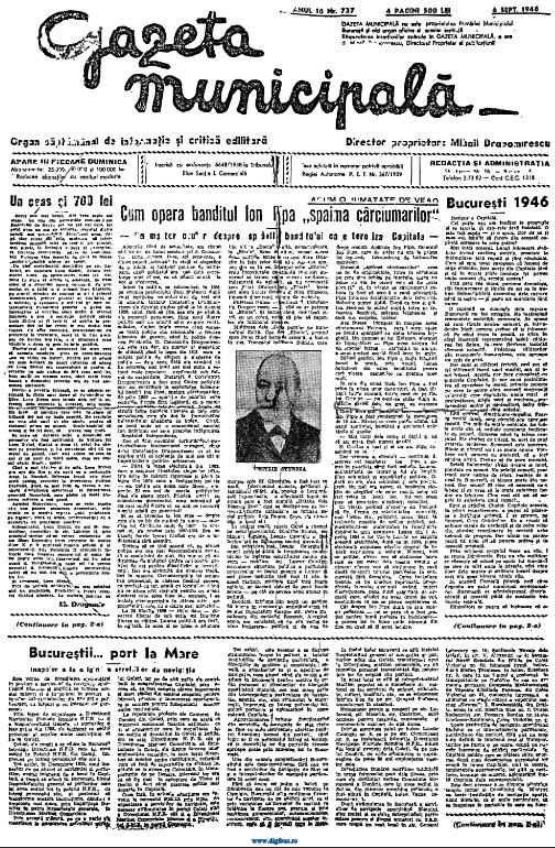 In 1946, dupa aproape cinci decenii de la capturarea lui Ion Pipa,