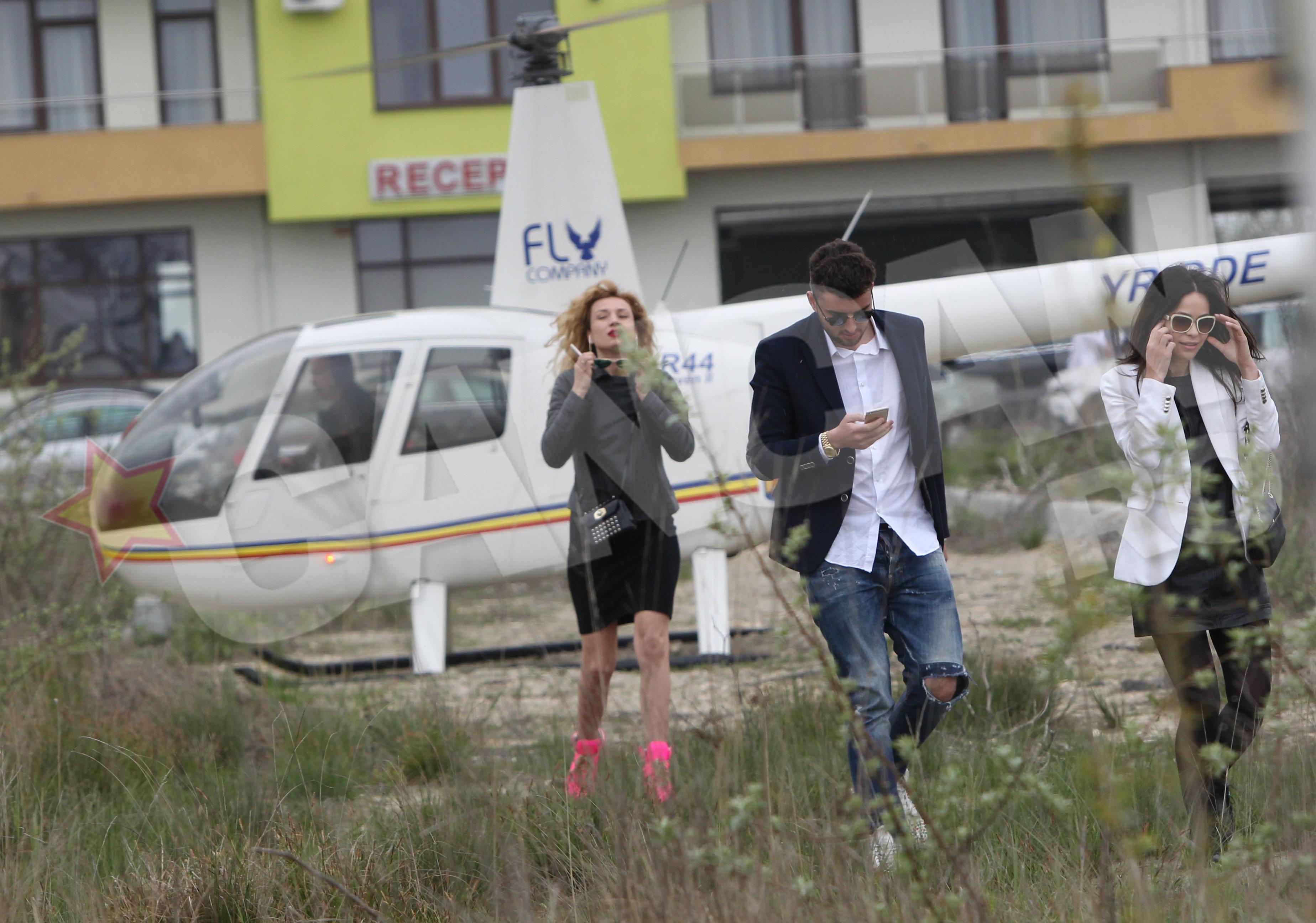 Victoras Micula a aterizat cu elicopterul chiar in fata clubului la brat cu fosta iubita a lui Irinel Columbeanu (foto stanga)