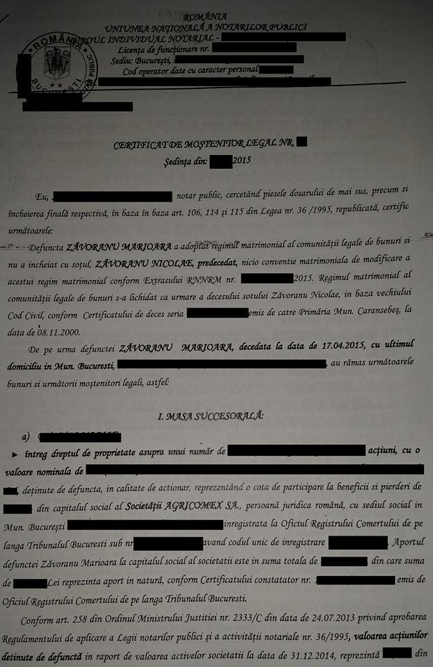 Certificatul de mostenitor al Oanei Zavoranu