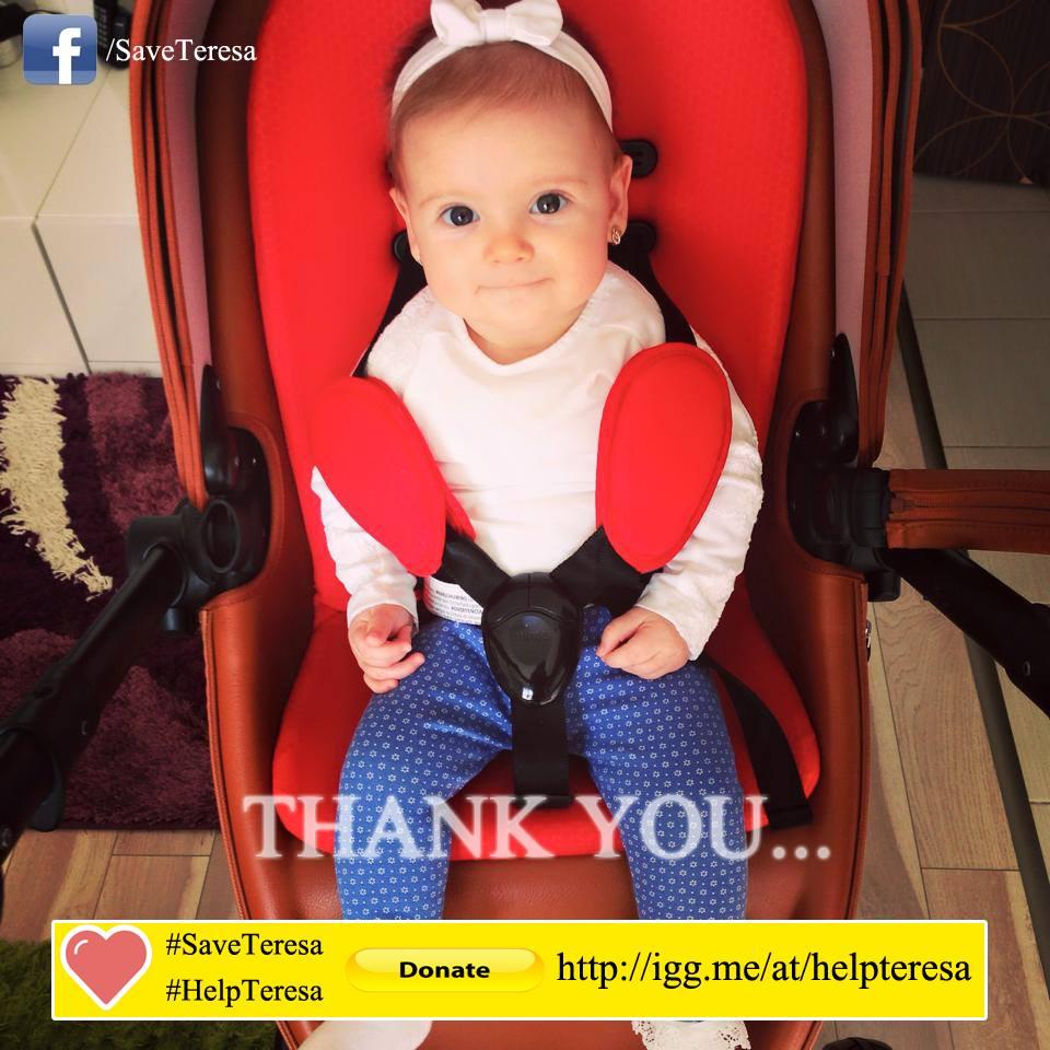 Teresa a fost diagnosticata cu o tumora cerebrala la numai un an si o luna