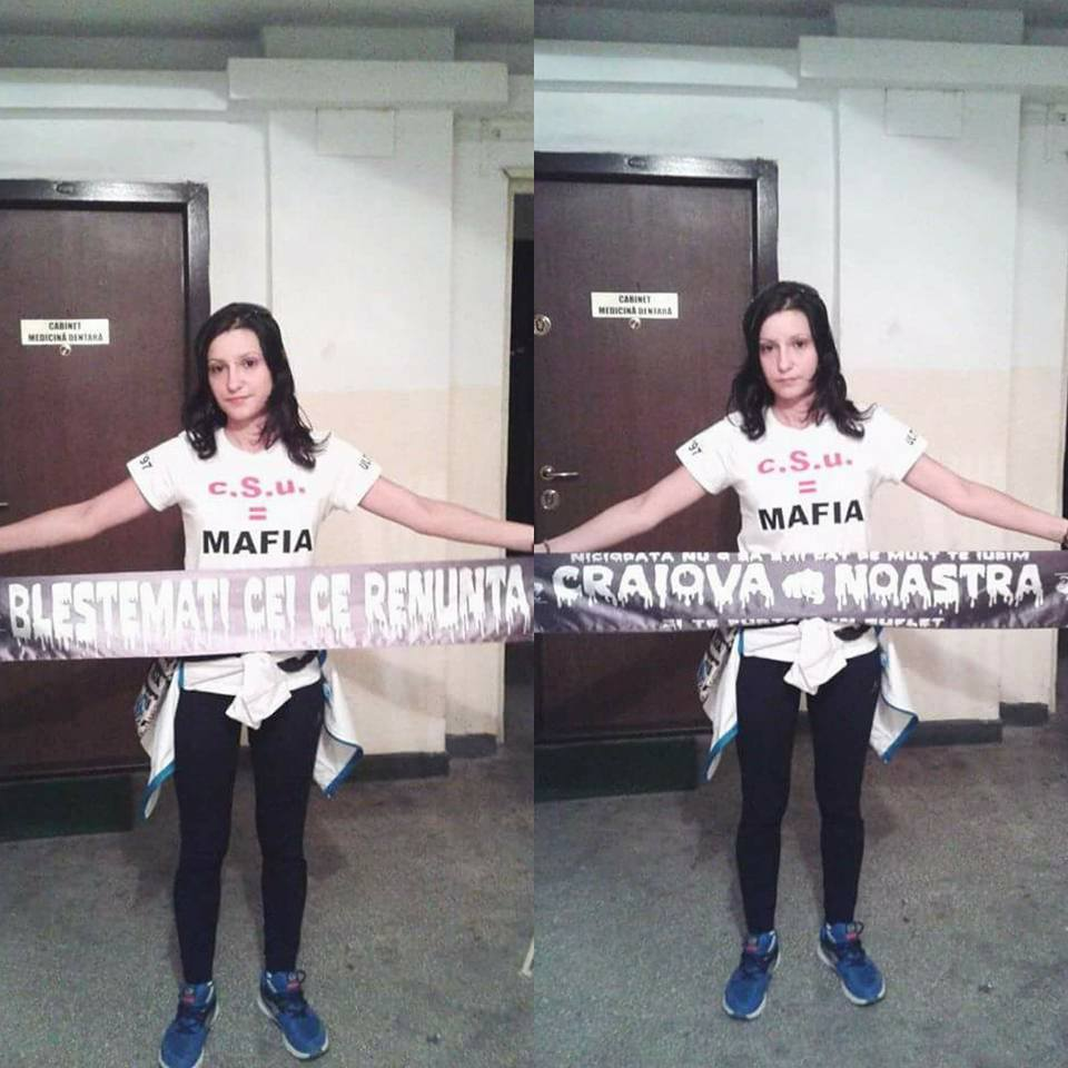 Cristina s-a fotografiat cu tricoul pe care erau trecute mesajele impotrica FRF si CSU