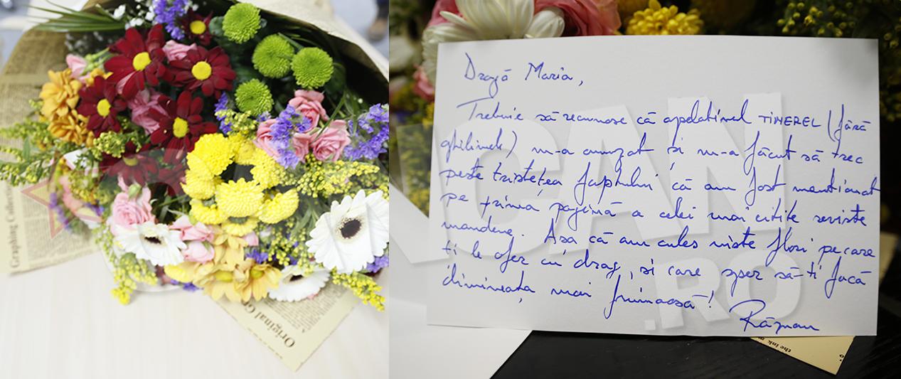 Răzvan Petrovici a fost atât de drăguţ încât să ne trimită un buchet de flori la redacţie. Nu atât de drăguţ ca Negoiţă, care (după cum veţi afla dintr-un material de la miezul nopţii) a încercat să ne mituiască, dar orişicât.