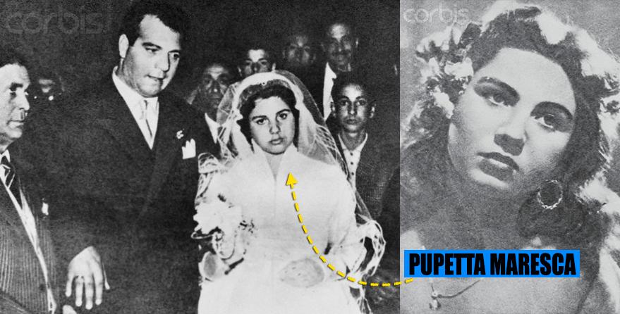 Pupetta Maresca, la casatoria din 1954 cu Simonetti, a carui moarte a razbunat-o in cel mai dur mod cu putinta