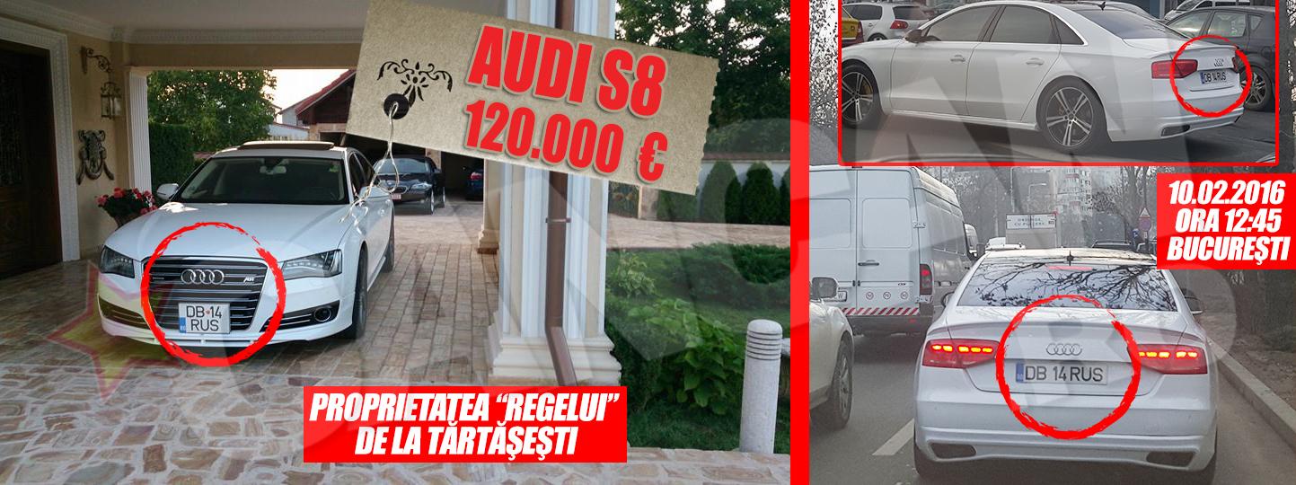 """Cand nu conduce BMW-ul """"de munca"""", Ion Rusu foloseste un Audi S8 al carui pret de catalog este de aproximativ 120.000 de euro"""