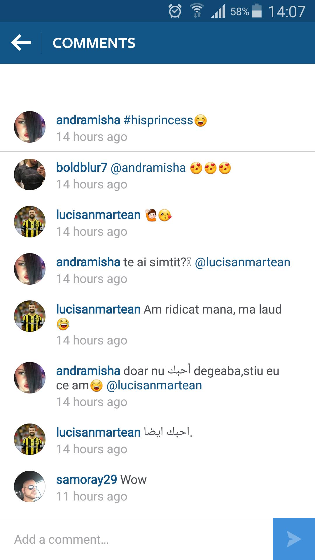 Din discuţiile de pe Instagram, se înţelege clar că între fotbalist si presupusa amantă e ceva mai mult decât o aventură