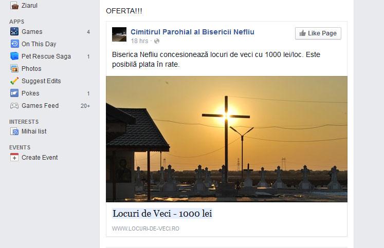 Anuntul oficial de vânzare a fost distribuit pe facebook