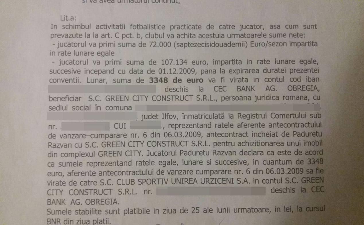 Iată cum arăta contractul unui jucător şi pe care Dumitru Bucşaru nu l-a respectat