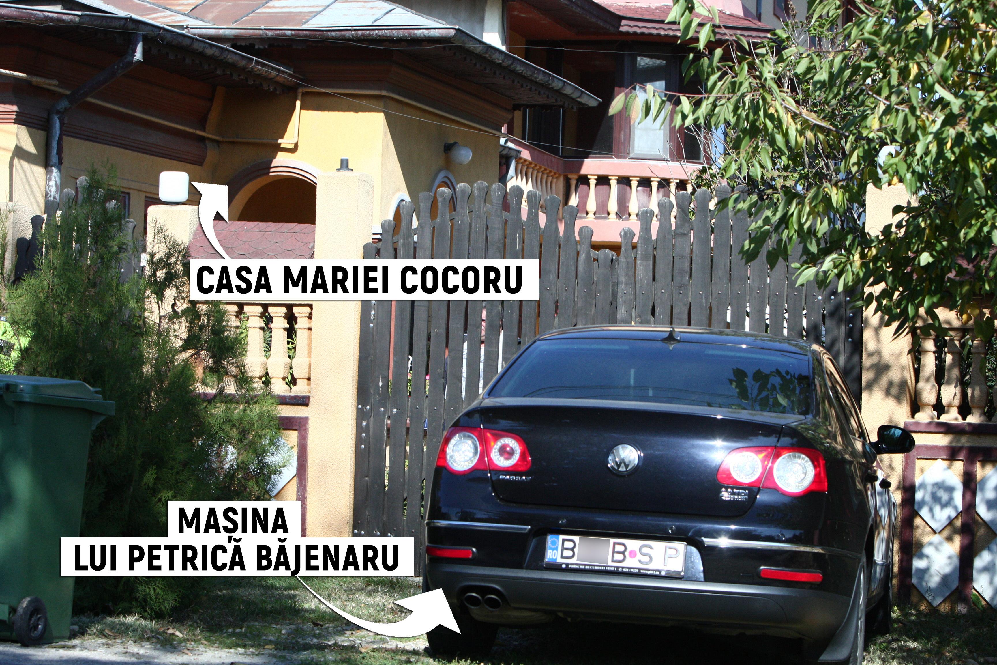 Maşina lui Petrică Băjenaru, parcată în faţa casei mătuşii lui, Maria Cocoru