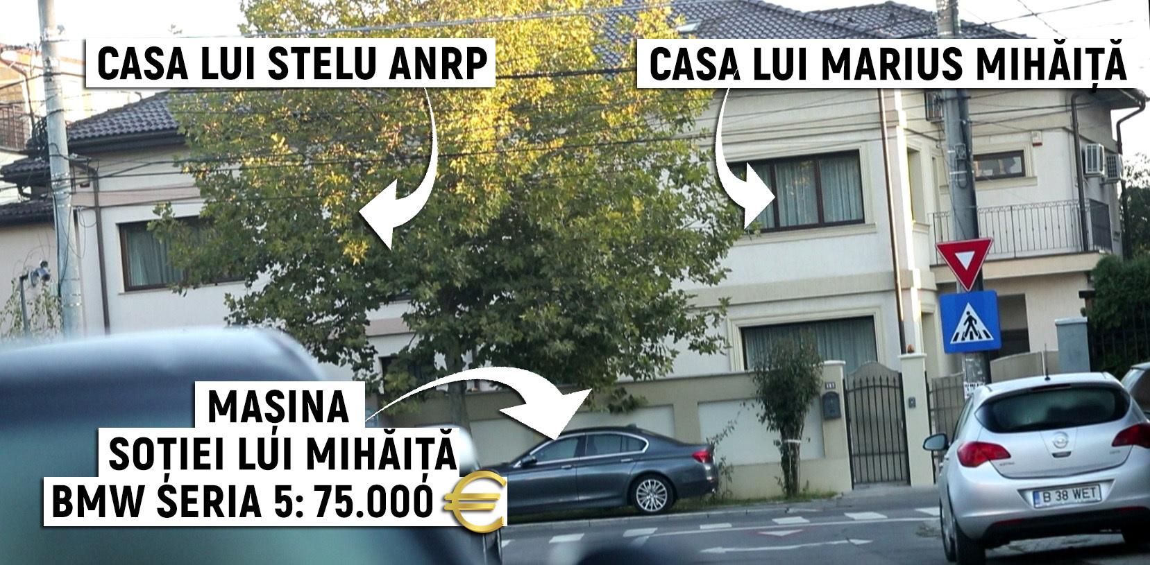 Maşina soţiei lui Mihăiţă, parcată lângă imobilul în care locuiesc familia secretarului şi cea a lui