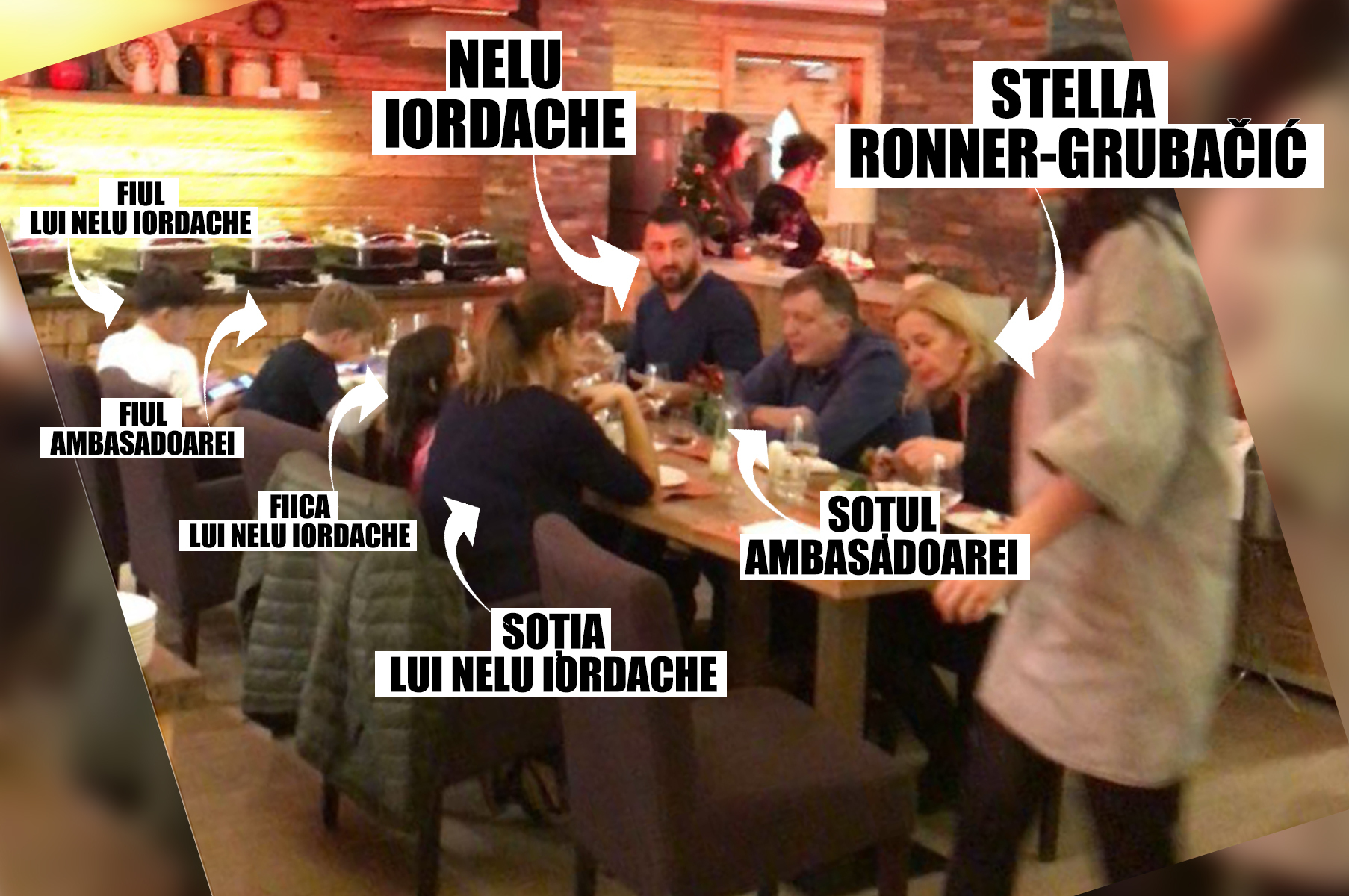 1 IANUARIE 2018. ORA 20.30. Ambasadoarea Olandei, soţul şi fiul acesteia au luat cina alături de Nelu şi doamna Iordache, dar şi de copiii acestora din urmă