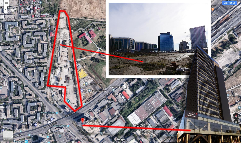Încercuit cu roşu este terenul deţinut de Iacov şi partenerii lui. Se află chiar vizavi de Nusco Tower