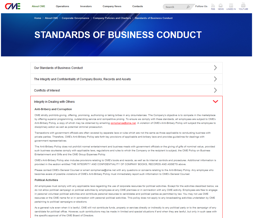 """Regulamentul CME este categoric: """"(...) nu permitem desfăşurarea de campanii politice sau activităţi politice de către angajaţi în orice sediul CME sau în legătură cu orice activitate CME (...)""""."""