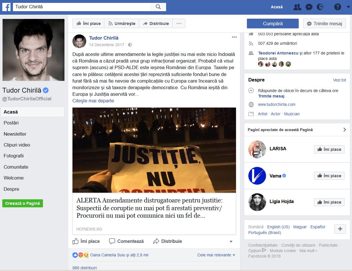 """În ultimul an, Tudor Chirilă a atacat virulent politica PSD. Limbajul său a culminat luna trecută când a numit alianţa aflată la Guvernare un """"grup infracţional organizat""""!"""