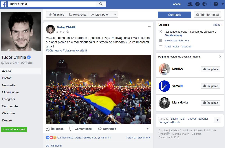 Sâmbătă, artistul a revenit pe pagina lui de Fb şi a cerut românilor să se alăture protestatarilor
