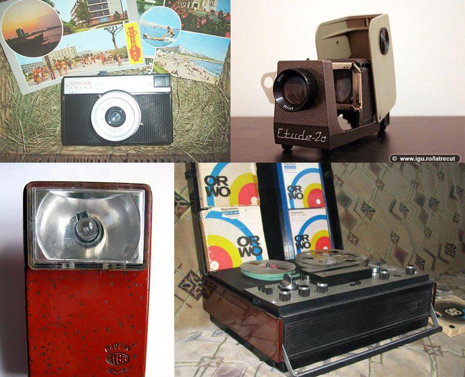 In locul unui sistem home-cinema si a computerelor performante de azi, romanii se multumeau cu un aparat foto Smena, o lanterna Elba si unul dintre faimoasele magnetofoane si diapozitive