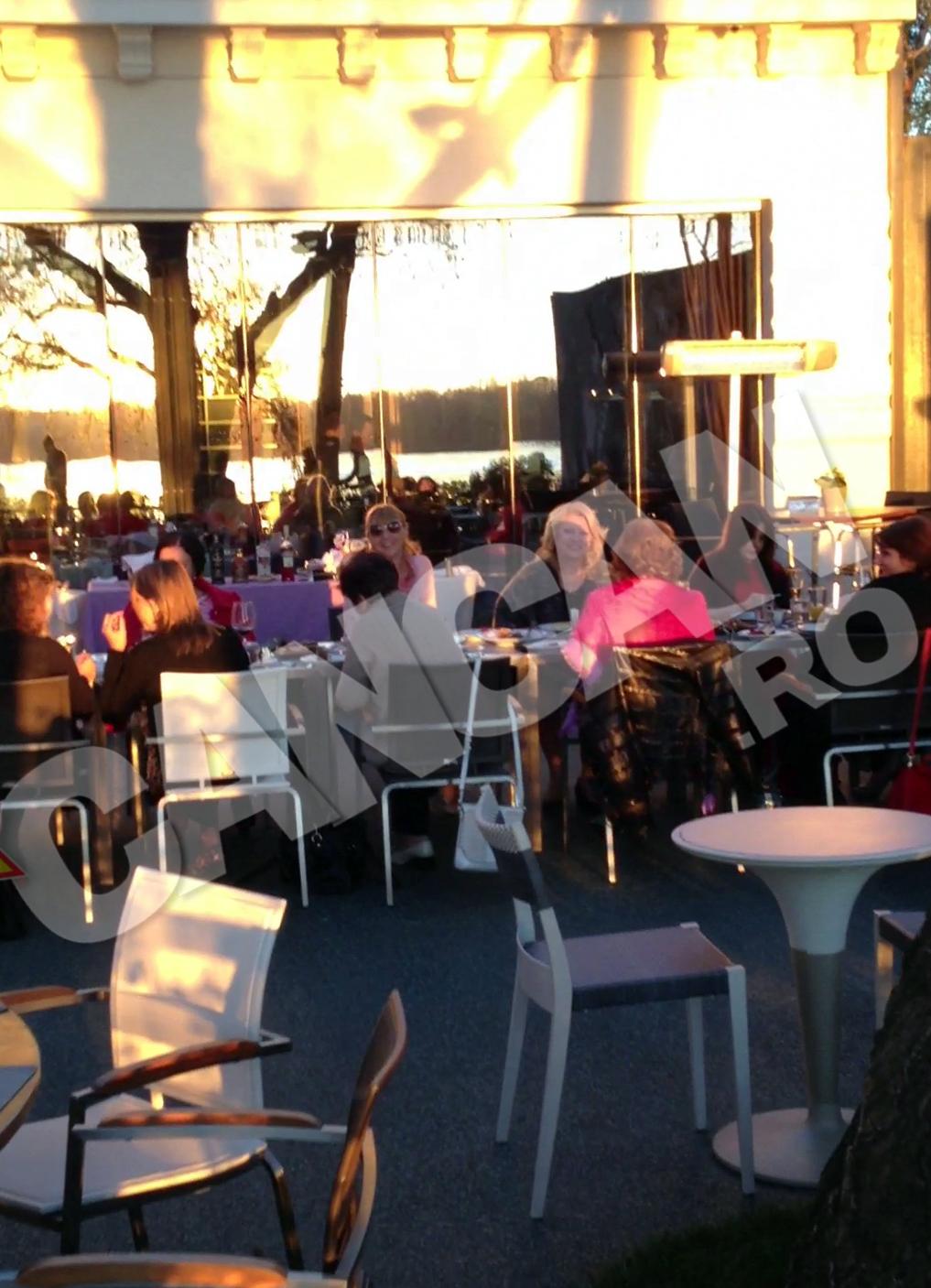 Doamnele s-au asezat in cealalta parte a mesei, plictisite probabil de discutiile politice ale sotilor lor